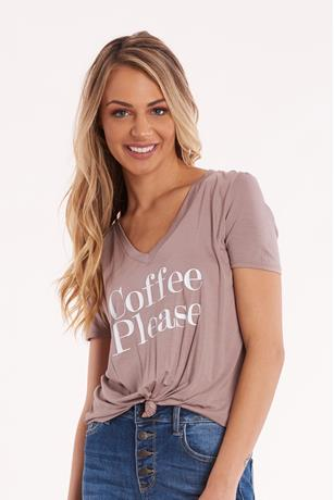 Cap Coffee Graphic Tee TAUPE