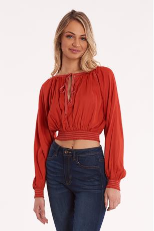 Smocked Bottom Crop Top RED