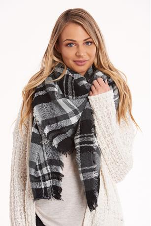 Printed Knit Blanket Scarf BLACK