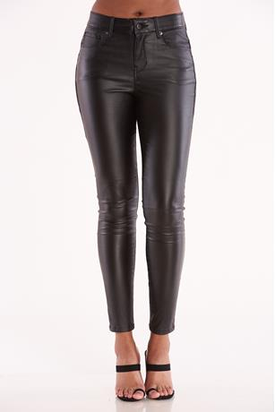 Skinny Coated Pants BLACK