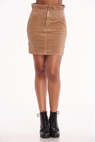Corduroy Paperbag Skirt TAUPE