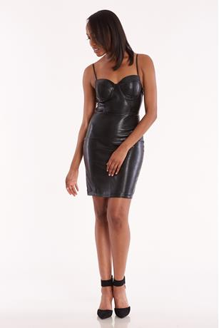 Faux Leather Tank Dress BLACK