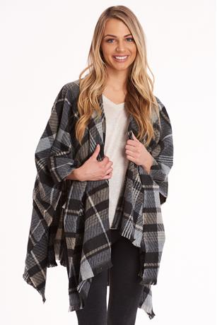 Plaid Flannel Poncho BLACK