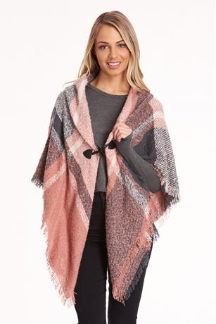 Soft Brushed Plaid Poncho