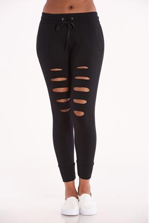 Black Distressed Drawstring Joggers BLACK