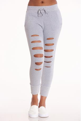 Gray Distressed Drawstring Joggers GRAY