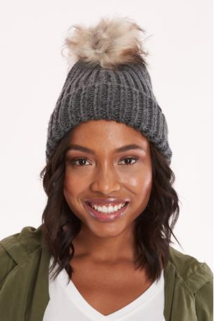 Braided Pom Pom Beanie CHARCOAL