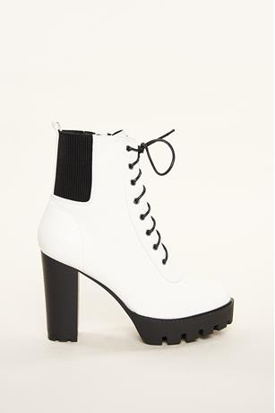 Lace Up Platform Booties WHITE