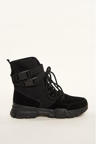 Release Buckled Combat Boots BLACK
