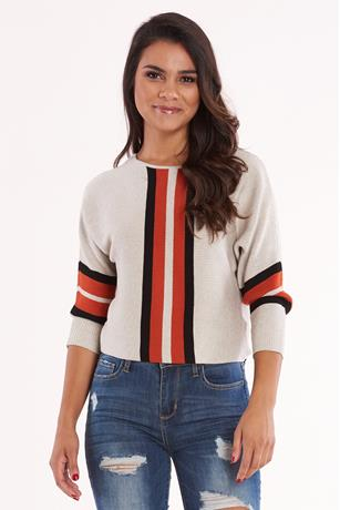 Ribbed Knit Colorblock Sweater
