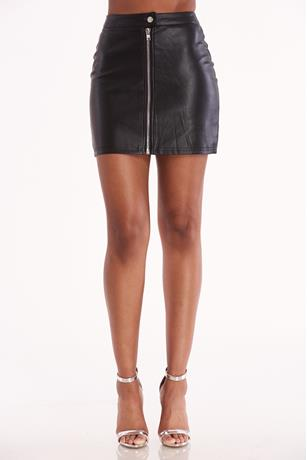 Faux Leather Zip Up Skirt BLACK