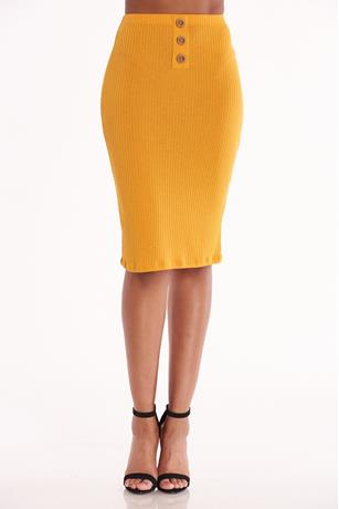 Ribbed Bodycon Midi Skirt