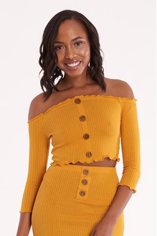 Ribbed Off Shoulder Crop Top