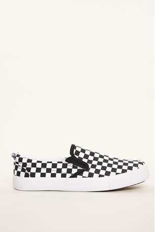 Checkered Print Slip Ons