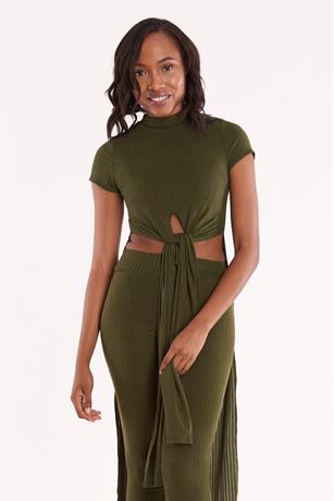 Ribbed Tie Front Tunic OLIVE