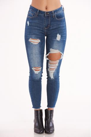 Cello Mid Rise Distress Jeans