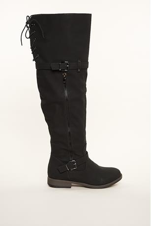Thigh High Buckled Boots BLACK