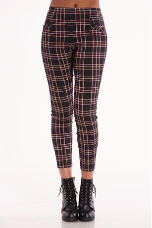Plaid Pull On Pants