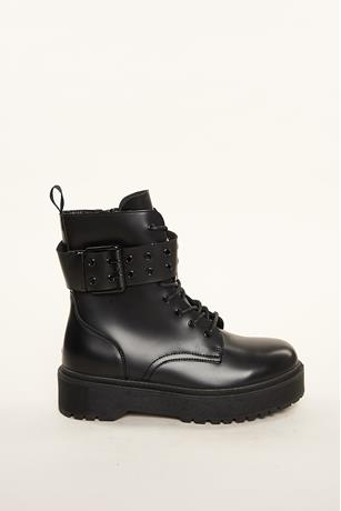 Buckled Platform Combat Boots BLACK