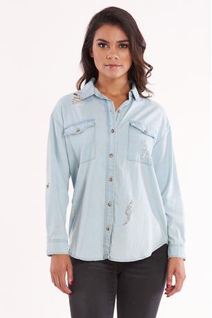 Ripped Denim Shirt LIGHT WASH