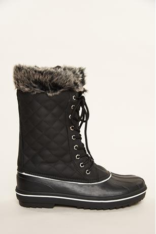 Faux Fur Duck Boots BLACK