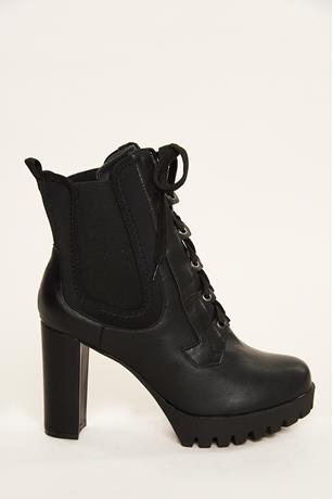 Platform Lace Up Booties BLACK