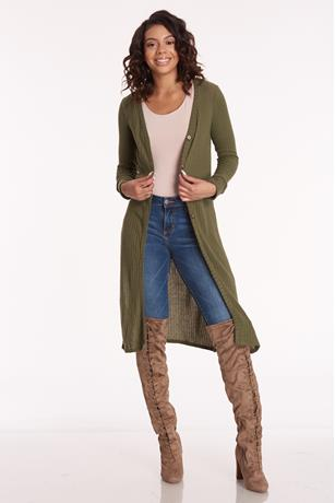 Long Sleeve Button Front Cardigan OLIVE