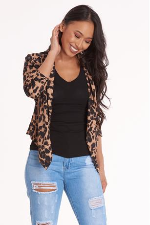 Animal Print Blazer BROWN