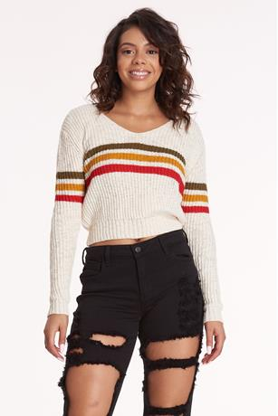 Striped Trim V Neck Sweater