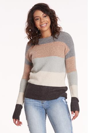 Colorblock Crew Neck Sweater MAUVE
