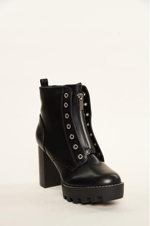 Zip Up Ankle Combat Boots BLACK