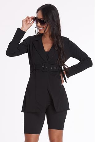 Belted Longline Jacket BLACK