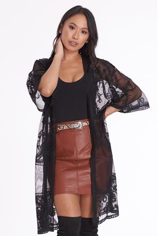 Lace Mesh Duster BLACK