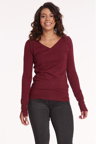V Neck Sweater BURGANDY