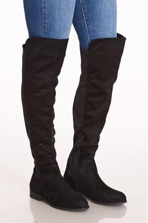 Faux Suede Combo Otk Boots