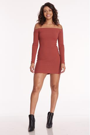 Off Shoulder Mini Dress RUST