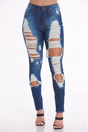 Ripped Skinny Jeans DARK WASH