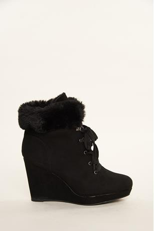 Faux Fur Trim Wedges BLACK