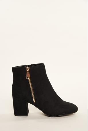 Zippered Chunky Heel Booties