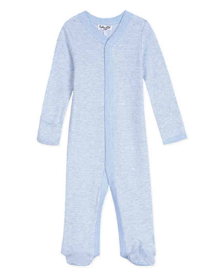 L/S STRIPE FOOTED COVERALL LIGHT BLUE