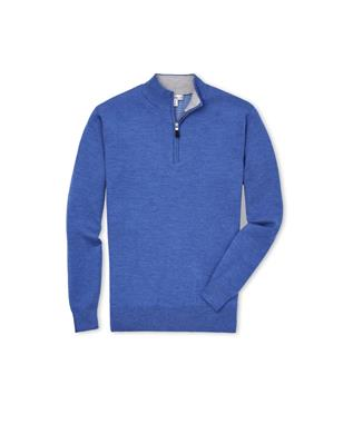 CROWN COMFORT CASHMERE QUARTER ZIP PLAZA BLUE
