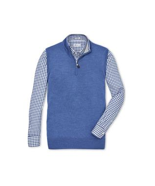CROWN SOFT QUARTER ZIP VEST PLAZA BLUE