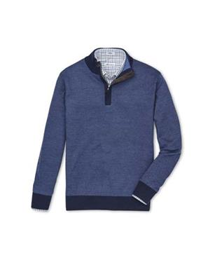 CROWN BIRDSEYE QUARTER ZIP WITH COVERED PLACKET SWEATER PLAZA BLUE