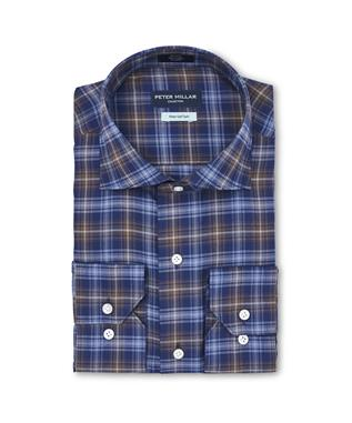 CROWN COMFORT EAST WEST CHECK SPORT SHIRT  AZURITE