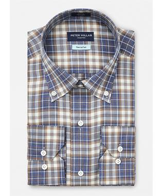 COLLECTION BERGEN PLAID SPORT SHIRT AZURITE