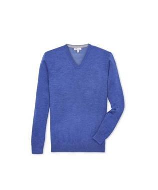 CROWN COMFORT CASHMERE V NECK PLAZA BLUE