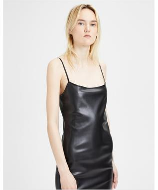 FAUX LEATHER SLIP DRESS BLK