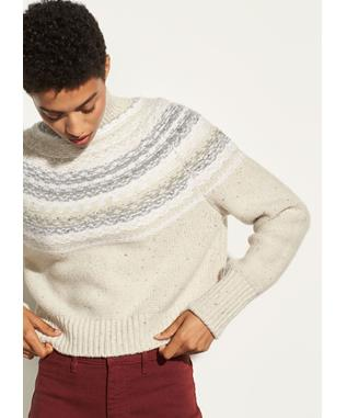Cropped Fair Isle Turtleneck OATMEAL