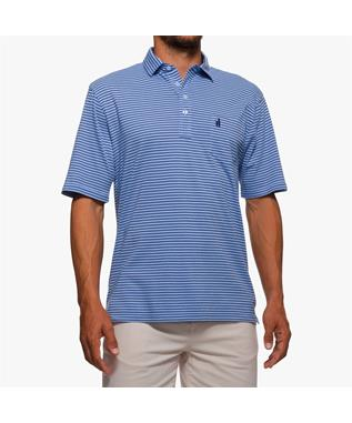 MACON STRIPPED 4 BUTTON POLO 451 VISTA BLUE