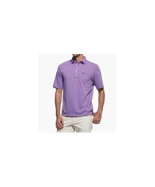 MACON STRIPPED 4 BUTTON POLO NEON BLUE